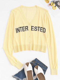 Semi-sheer Interested Letters Button Up Cardigan - Yellow