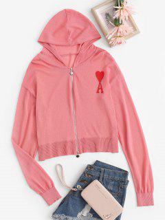 Hooded Two-way Zipper Heart Graphic Cardigan - Red