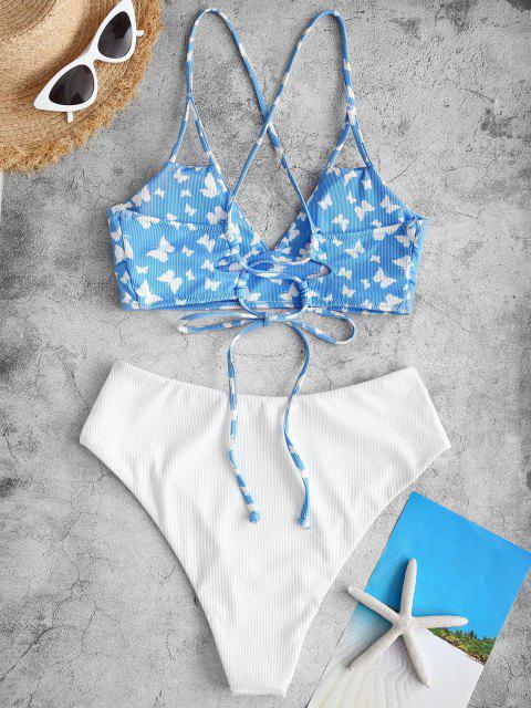 ZAFUL Maillot de Bain Tankini Côtelé Croisé Papillon à Taille Haute - Bleu clair XXL Mobile