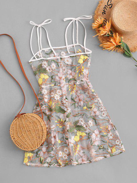 affordable Tie Shoulder Floral Embroidered Sheer Mesh Dress - MULTI M Mobile