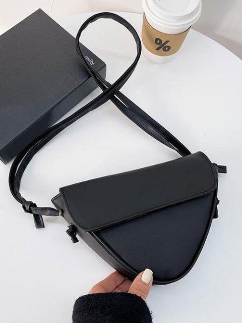 Invertiertes Dreieckform Piping Klappe Umhängetasche - Schwarz  Mobile
