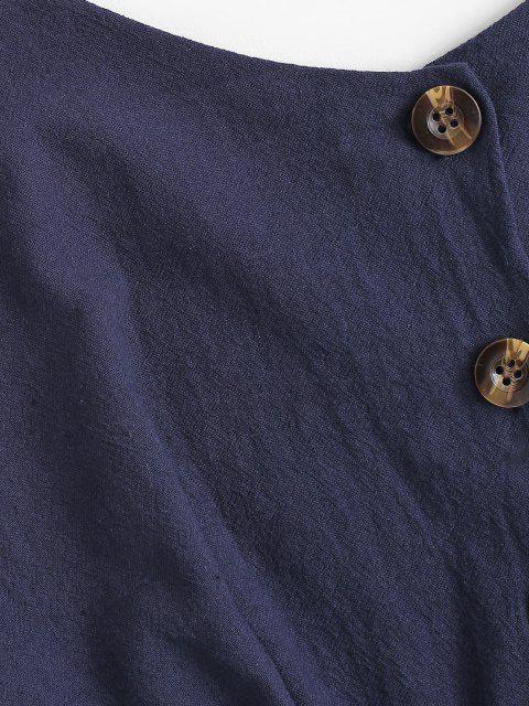 new Ruffle Half Button Sleeveless Romper - DEEP BLUE L Mobile