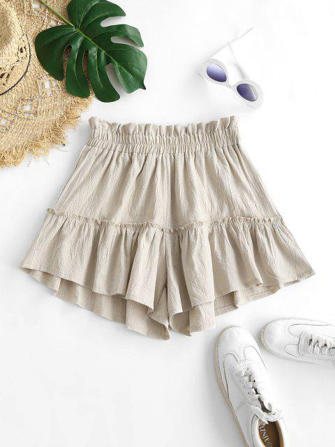 fancy Frilled Wide Leg Flounce Shorts - LIGHT COFFEE S Mobile