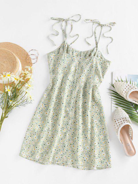 ZAFUL Gebundenes Daisy Blumen Geraffte Sommerkleid mit Spaghettibügel - Hellgrün XL Mobile