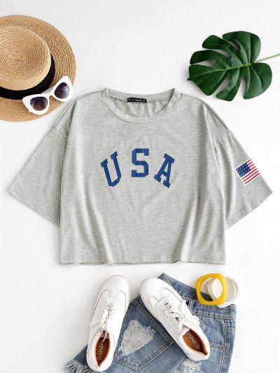 ZAFUL Plus Size Boxy USA Graphic T-shirt - Light Gray 5xl