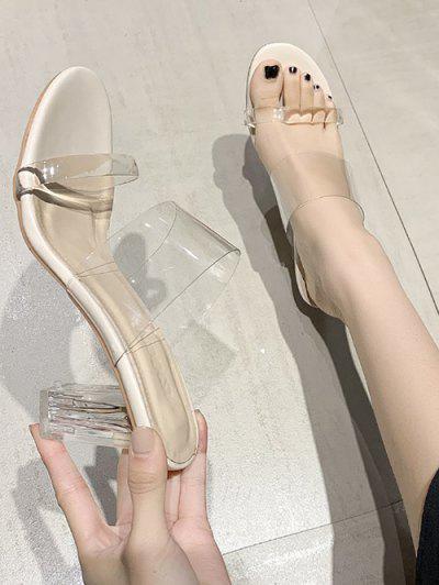 Transparent Chunky Heel Slides Sandals - White Eu 40