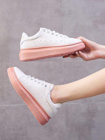 Letters Pattern Platform Sneakers - Pink Eu 39