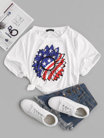 ZAFUL Plus Size American Flag Sunflower Cuffed Boxy T-shirt - White 5xl