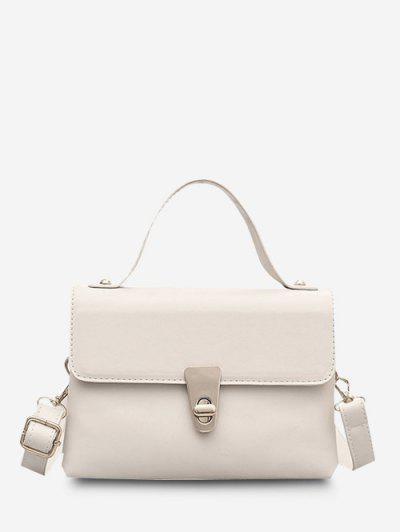 Dual Strap Twist-Lock Flap Crossbody Bag - White