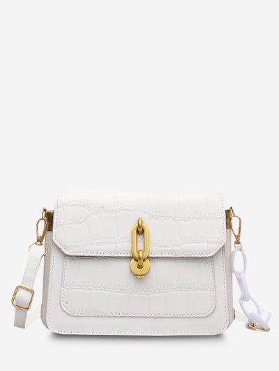 Half Chain Embossed Flap Shoulder Bag - White
