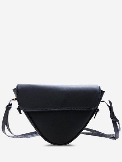 Inverted Triangle Shape Piping Flap Shoulder Bag - Black