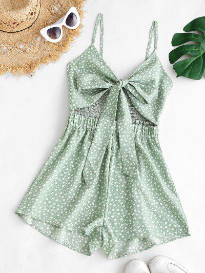 Knotted Hearts Print Smocked Cami Romper - Light Green S
