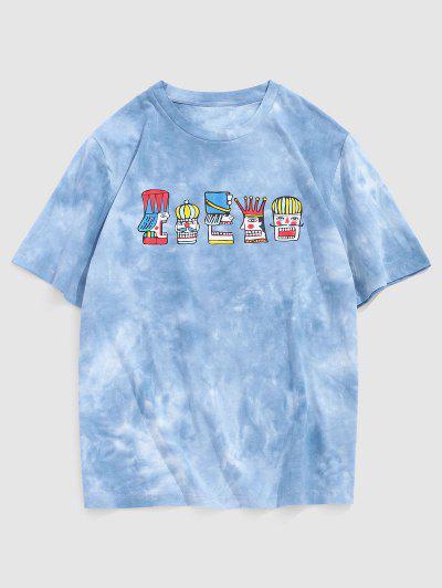 T-shirt Tie-Dye Totem Imprimé Tribal à Manches Courtes - Bleu Clair S