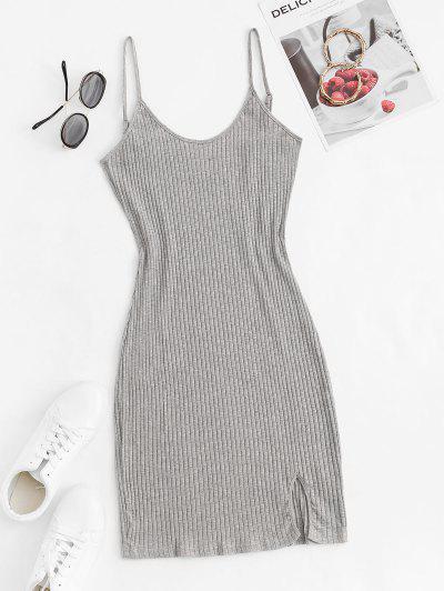 Cami Ribbed Front Slit Slinky Dress - Gray S