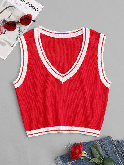 Striped Trim Cropped Sweater Vest - Red M