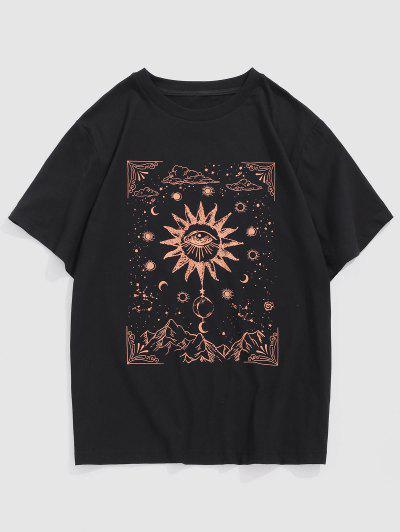Camiseta De Mangas Cortas Con Estampado De Ojos Y Luna En Sol - Negro M