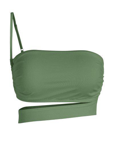 ZAFUL One Shoulder Cutout Crop Top - Light Green S
