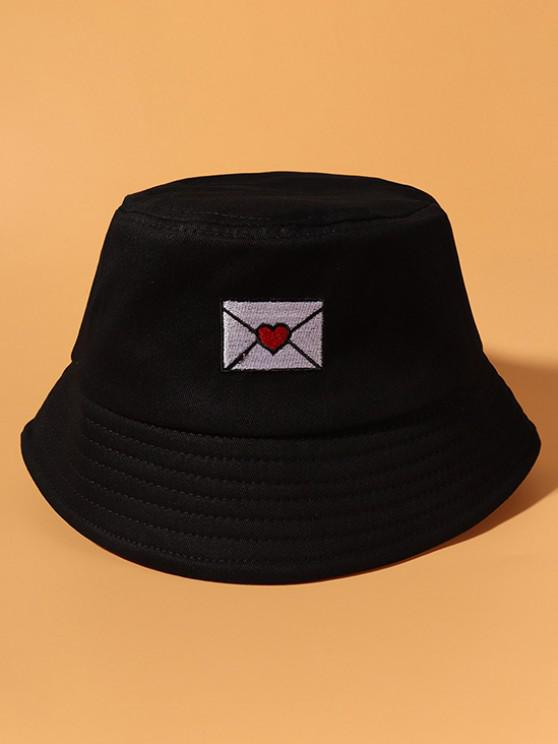 Envelope Embroidered Casual Cotton Bucket Hat - أسود