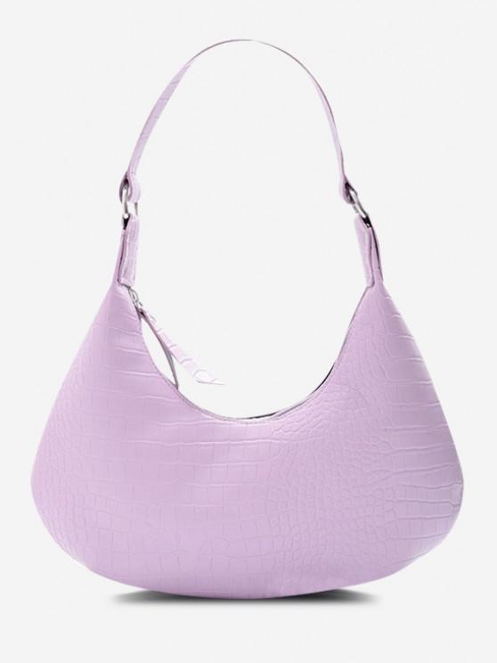 Solid Embossed Curved Wide Strap Shoulder Bag - خبازي