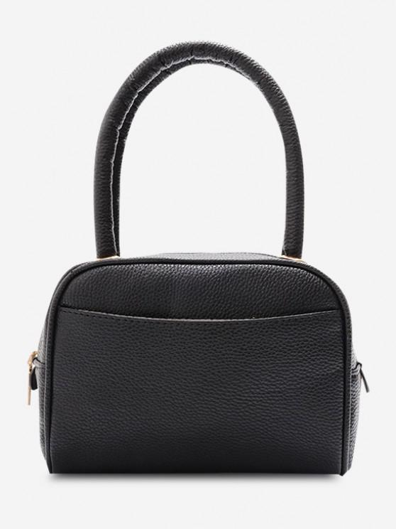 Minimalistic Grainy Double Handle Mini Tote Bag - أسود