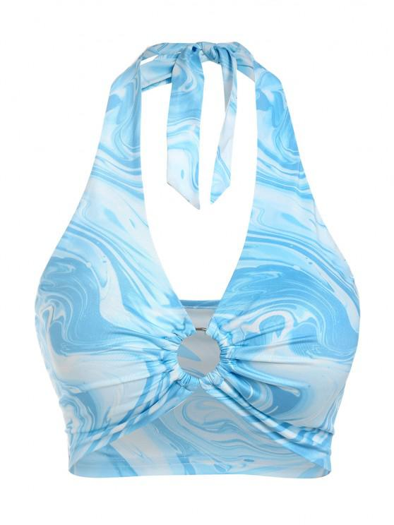 outfits ZAFUL Agate Tie Dye Ring Halter Top - LIGHT BLUE S