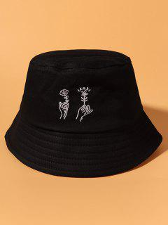 Hand Holding Flower Embroidery Cotton Bucket Hat - Black