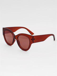Eye Frame Wide Temple Gradient Sunglasses - Deep Red