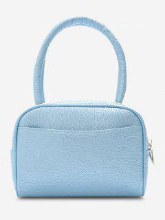 Minimalistic Grainy Double Handle Mini Tote Bag - Light Blue
