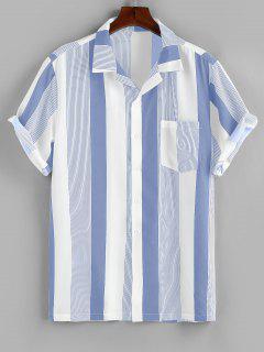 ZAFUL Button Up Striped Print Pocket Shirt - Blue M