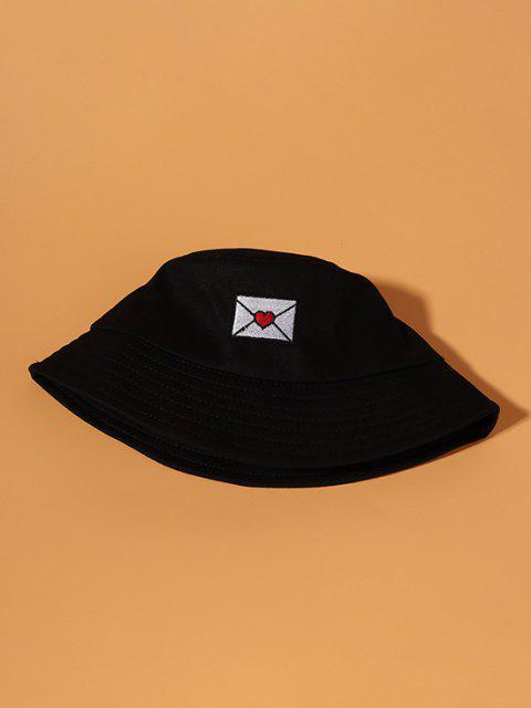 Gestickter Beiläufiger Baumwoll Bucket Hut - Schwarz  Mobile