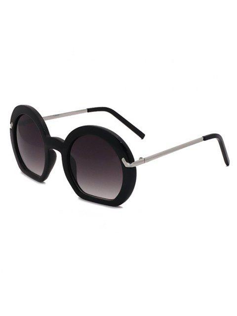 Retro Unregelmäßiger Rahmen Metall Arm Sonnenbrille - Schwarz  Mobile