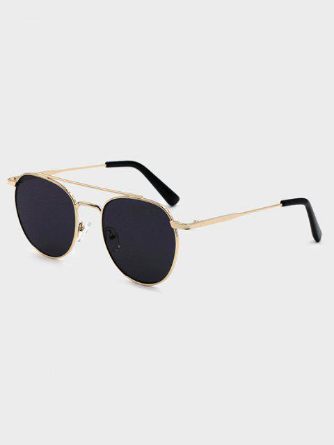 women's Crossbar Round Frame Gold-Tone Metal Sunglasses - BLACK  Mobile