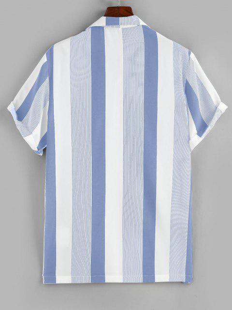 latest ZAFUL Button Up Striped Print Pocket Shirt - BLUE M Mobile