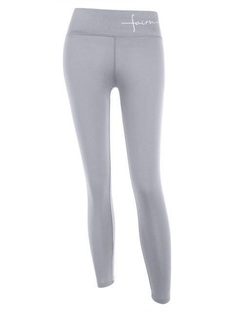 women Faith Graphic Topstitching Leggings - GRAY XL Mobile