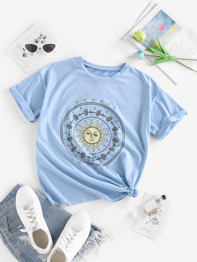 ZAFUL Sun Star Floral Print Loose T Shirt - Light Blue M
