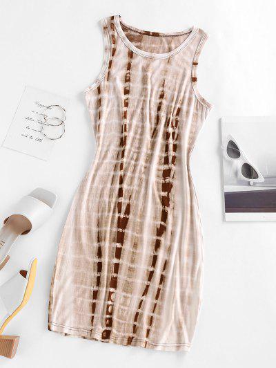 ZAFUL Tie Dye Bodycon Tank Dress - Light Coffee M