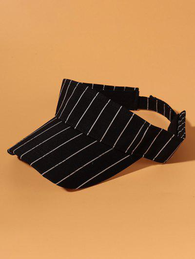 Casual Striped Print Cotton Visor Cap - Black