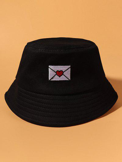 Gestickter Beiläufiger Baumwoll Bucket Hut - Schwarz