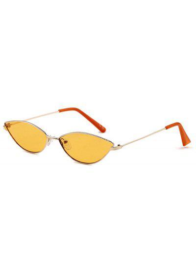 Retro Eye Frame Slim Metal Sunglasses - Rubber Ducky Yellow