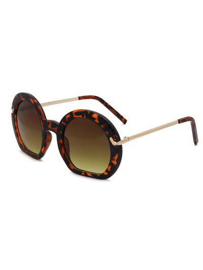 Retro Irregular Frame Gradient Metal Arm Sunglasses - Oak Brown