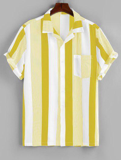 ZAFUL Camisa A Rayas Con Bolsillo Y Botón - Amarillo S