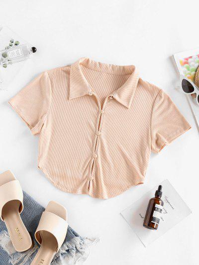 T-Shirt Corta Irregolare A Costine Con Bottoni Di ZAFUL - Rosa Chiaro S