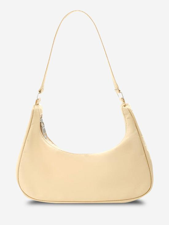 Minimalistic Solid Curved Nylon Shoulder Bag
