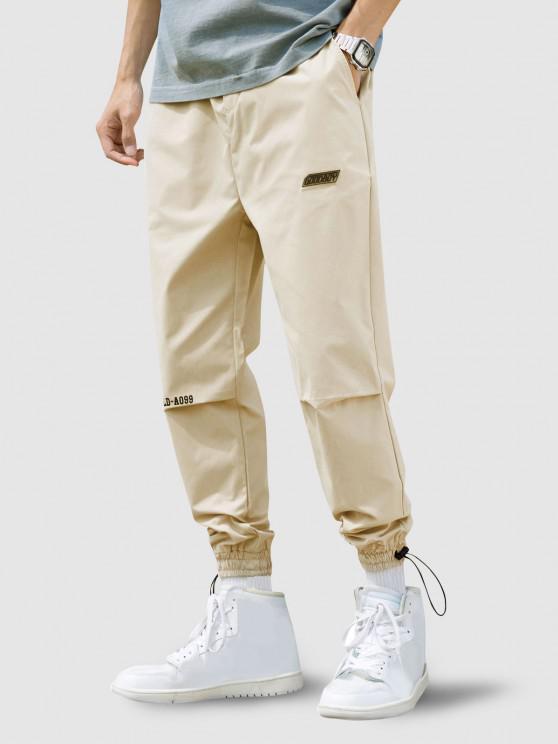 affordable Peace World Print Elastic Waist Jogger Pants - WARM WHITE M