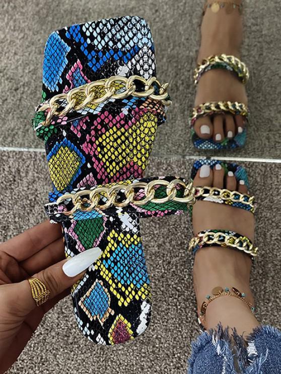 ladies Snakeskin Print Strappy Chain Flat Sandals - BLUE EU 38