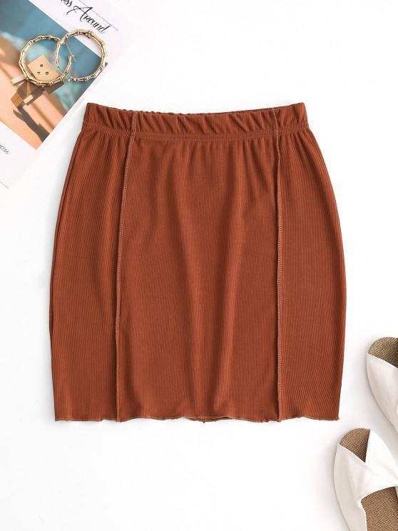 womens Topstitching Ribbed Bodycon Skirt - COFFEE M