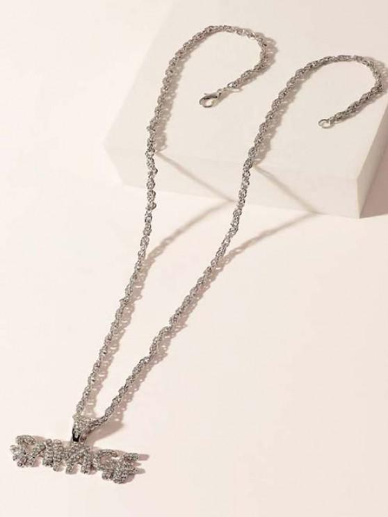 Letter Pendant Rhinestone Embellished Hip-Hop Necklace - فضة