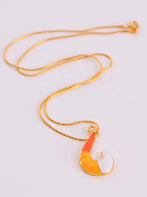 Fox Tail Pendant Golden Snake Chain Necklace - ذهبي
