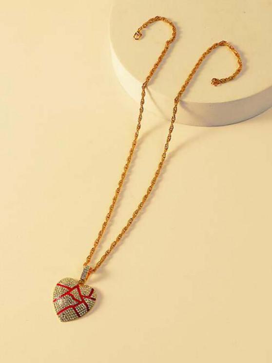 hot Rhinestone Cracked Heart Pendant Long Necklace - GOLDEN