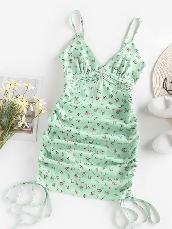 chic ZAFUL Ditsy Floral Ruched Pintuck Cami Dress - LIGHT GREEN S